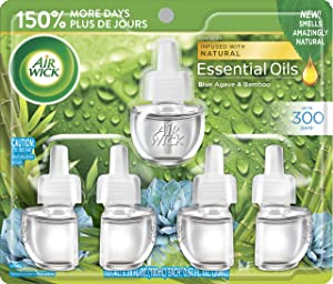 Air Wick Plug in Scented Oil Refill Freshener Essential Oils, Blue Agave and Bamboo, 5 Count