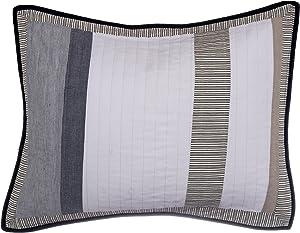 Nautica 201249 Cotton Quilted Sham, Standard, Tan/Grey