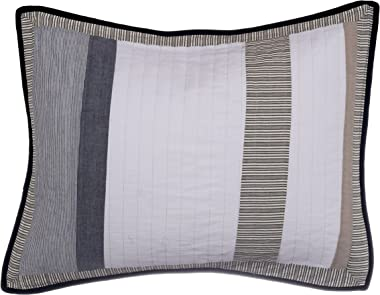 Nautica Home Tideway Collection 100% Cotton Quilted Accent Standard Sham, Envelope Closure, Pre-Washed for Added Softness, Easy Care Machine Washable, Tan/Grey