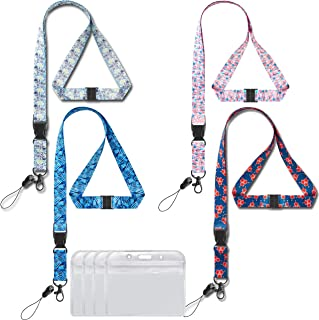Lanyard with id Badge Holder Large Horizontal 4 Pack lanyards for Key Women Safety Breakaway Width 0.79 inches (2cm) Detachable Buckle Enhanced Quick Release Neck Office Lanyard id Card Holders