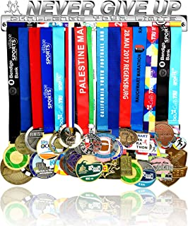 Race Sports Medal Holder Display Hanger Rack Frame - Stainless Steel Mirror Silver Sturdy Wall Mount Over 40 Medals Easy to Install Easy to Use