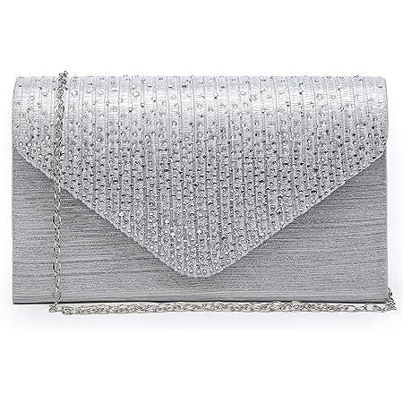 Womens Evening Bag Envelope Rhinestone Party Prom Clutch Handbag Wedding Purse Shoulder Bag