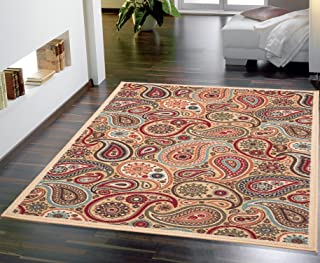 Ottomanson Ottohome Collection Contemporary Paisley Design Non-Skid (Non-Slip) Rubber Backing Modern Area Rug, 5' X 6'6