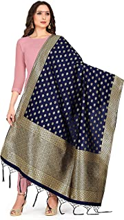 ELINA FASHION Women's Zari Work Indian Pakistani Banarasi Art Silk Woven Only Dupatta for Dress Material & Salwar Suit