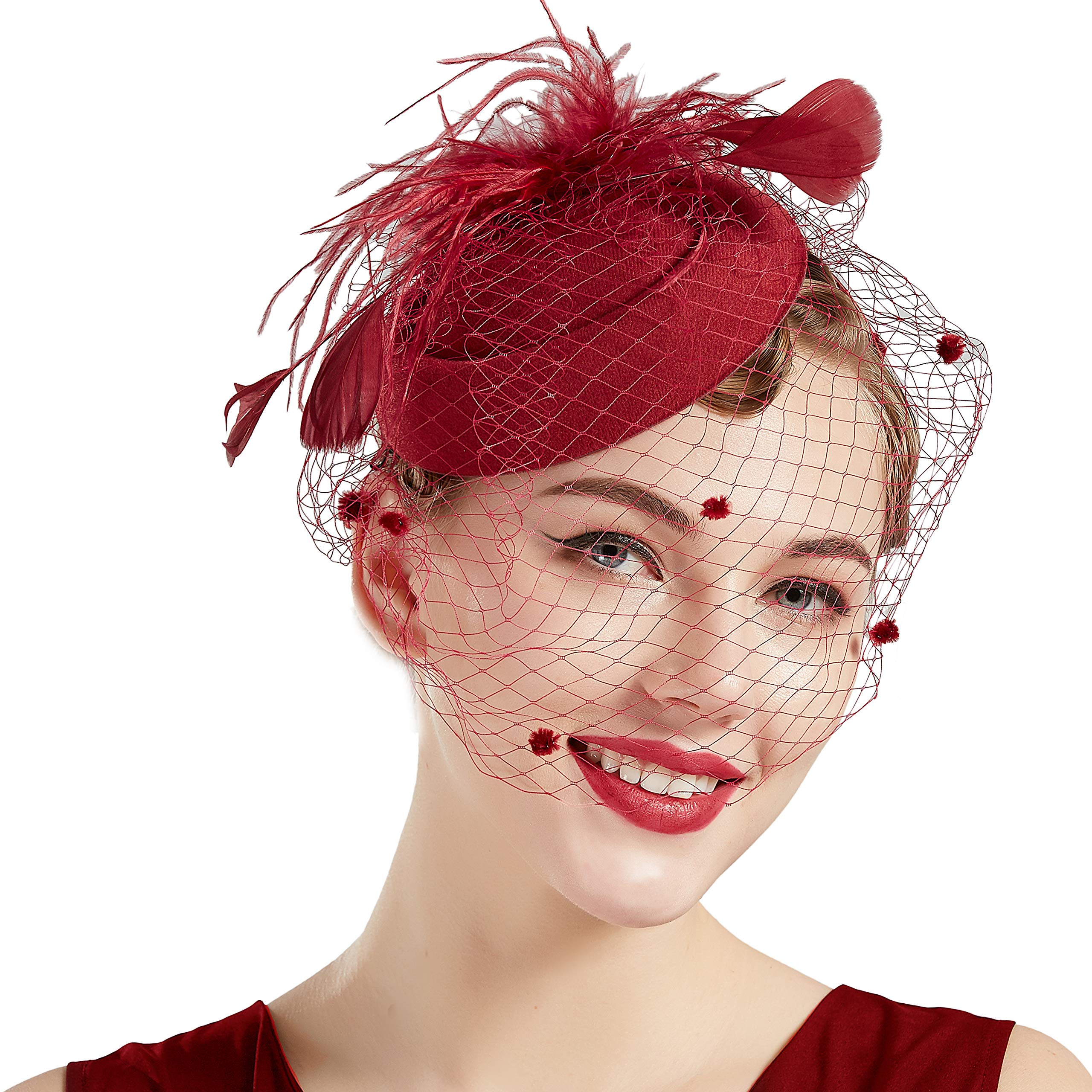 BABEYOND Women's Fascinators Hat Hair Clip Pillbox Hat Tea Party Fascinator  Hat with Veil Headband for Cocktail Wedding…- Buy Online in Dominica at  dominica.desertcart.com. ProductId : 107684513.