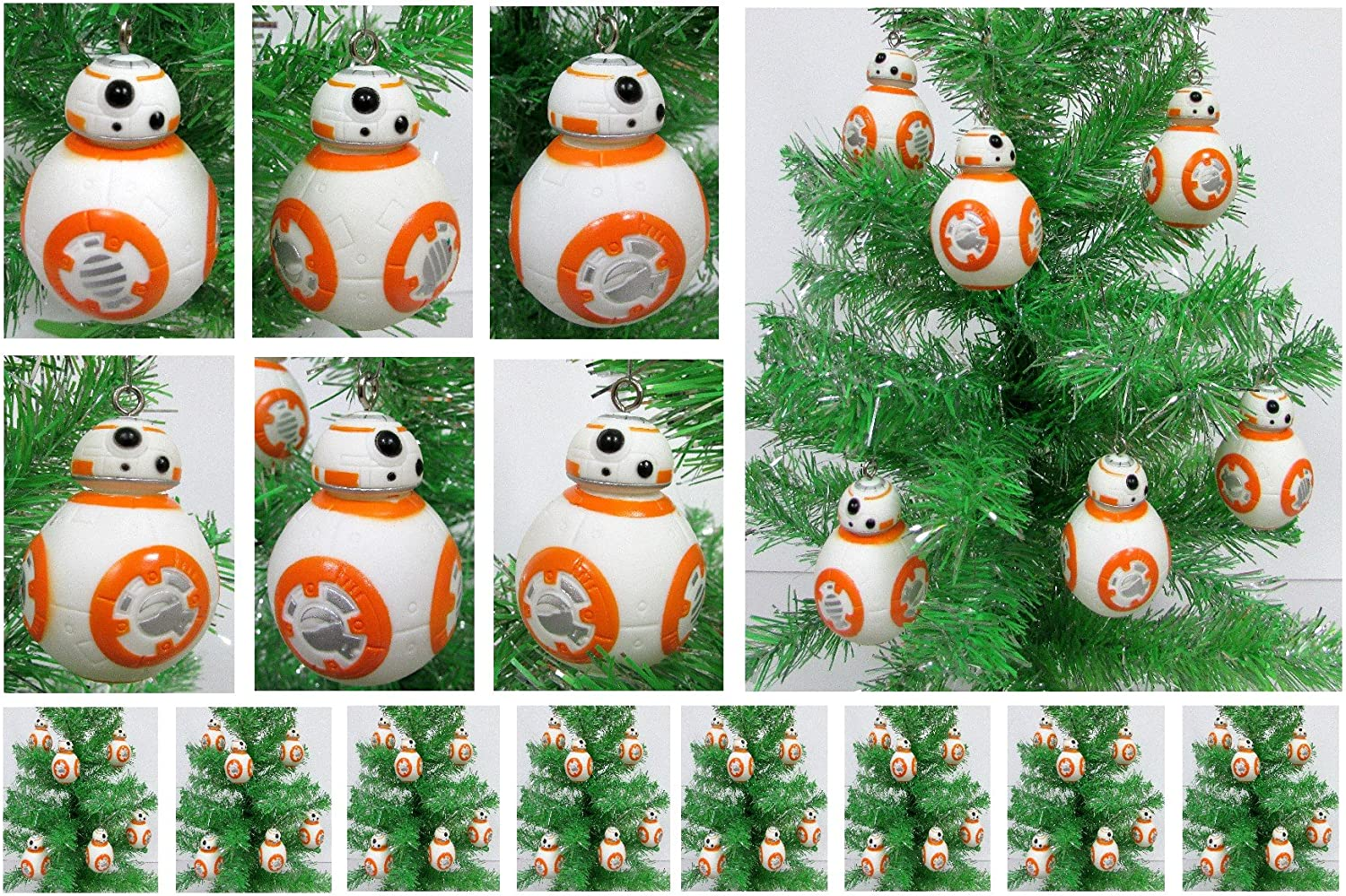 STAR WARS BB8 Set of 6 Christmas Tree Ornaments  Shatterproof Plastic Design Around 3  Tall