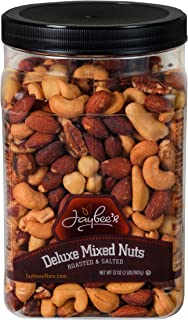 Jaybees Roasted Salted Deluxe Mixed Nuts (32Oz) Great Everyday Snack Featuring Cashews Almonds Brazil Nuts Pecans and Filberts