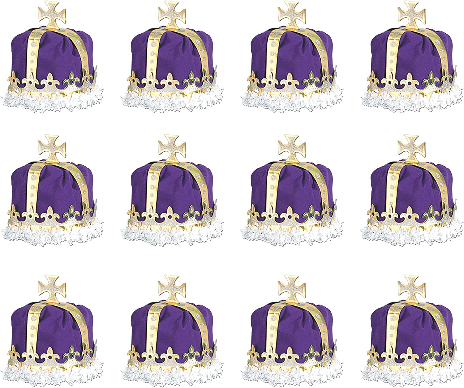 Beistle 66109-PL 12-Pack Royal King's Crown, Purple