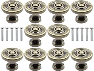LBY 10pcs Antique Style Bronze Metal Drawer Cabinet Decorative Pull Handle Knob, Wardrobe Door Single Hole Pull, Round Kno...