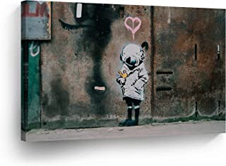 SmileArtDesign Banksy Canvas Print Space Girl with Bird from Chicago Banksy Wall Art Home Decor Decorative Artwork Stretched Ready to Hang%100 Made in The USA 15x22