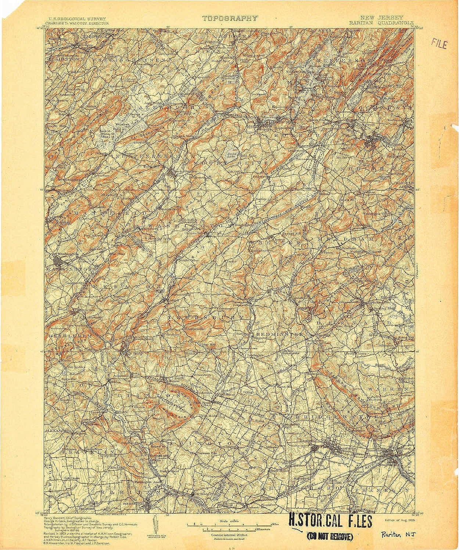 Raritan NJ topo map, 1 125000 Scale, 30 X 30 Minute, Historical, 1905, 19.8 x 16.6 in