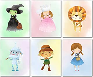 Wizard of OZ Prints - Set of 6 Kids Bedroom Nursery Wall Art Decor (8 inches x 10 inches) Photos Dorthy Tinman Scarecrow Lion Wicked Witch Glinda Good Witch