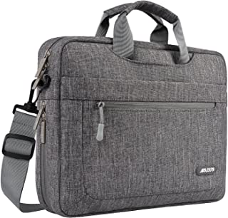 MOSISO Laptop Shoulder Bag Compatible with 15-15.6 Inch MacBook Pro,Ultrabook Netbook Tablet with Adjustable Depth at Bottom,Polyester Messenger Briefcase Carrying Handbag Sleeve Case Cover,Gray