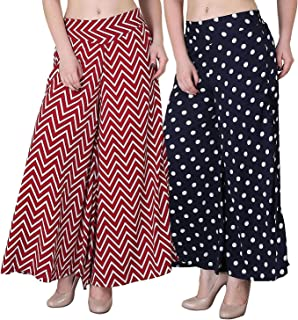FABLAB Women's Multicolor Palazzo Pants with Inner Pack of 2(FLPLCRP-P-2-28,RedZigZag-Polka)