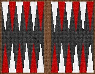 Backgammon Red White Needlepoint Canvas