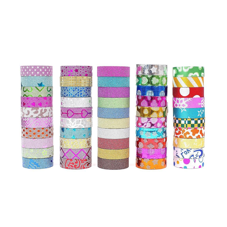 Glitter Tape Set of 50 Rolls- Decorative Washi Tape Perfect for DIY Crafts Book Designs,Scrapbook -Decorative, Bullet Journal,Planner,Album
