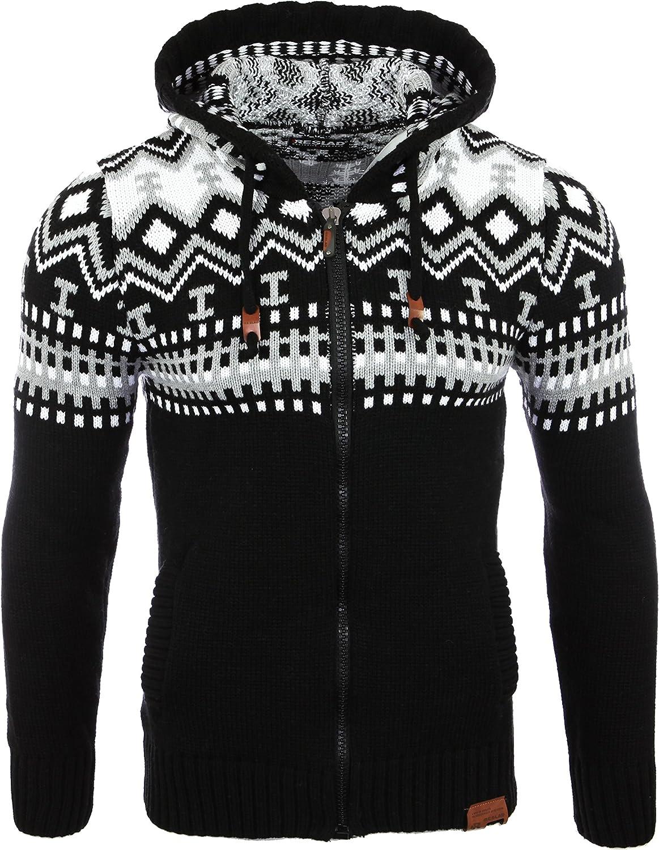 Reslad Jersey de punto para hombre noruego invierno de punto chaqueta sudadera con capucha RS-3104