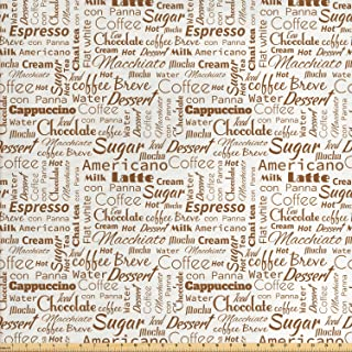 Ambesonne Modern Fabric by The Yard, Coffee Themed Words Macchiato Mocha Americano Breve Dessert Graphic, Decorative Fabric for Upholstery and Home Accents, 1 Yard, Umber Cream