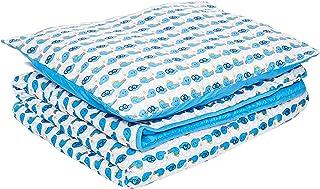 Smurfs Single 2 Pieces Set Comforter and Pillow, Blue/White, (Comforter 120 cm x 140 cm) - (1 Pillow - 50 cm x 60 cm)