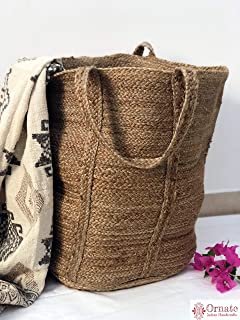 Ornate Handicrafts Large Jute Storage Basket and Organizers Bins, Hand Woven for Nursery, Laundry Bag, Home Living Room, Toy Organizing, Beach Versatile Home Decor, Round 16 inch X H 20 inch