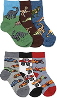 Boys Dinosaurs and Cars Pattern Cotton Crew Socks 6 Pair Pack