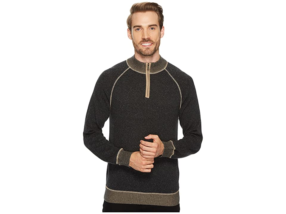 Agave Denim Victory at Sea Long Sleeve 1/4 Zip 12GG Sweater (Stretch Limo) Men's Long Sleeve Pullover
