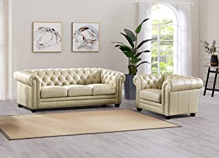 Hydeline Aliso 100% Leather Sofa Set (Sofa, Chair, Ivory)
