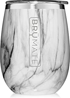 BrüMate Uncork'd XL 14oz Wine Glass Tumbler With Splash-proof Lid - Made With Vacuum Insulated Stainless Steel (Marble)