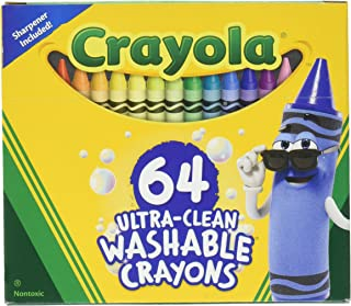 Crayola 52-3287 Ultra Clean Washable Crayons, 64 Classic Colors with Built in Sharpener Assorted, Standard