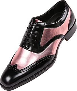 Mens Lawson Shiny Metallic Satin Two-Tone Wing Tip Lace up Brogue Oxford Dress Shoe Trimmed with Black Smooth
