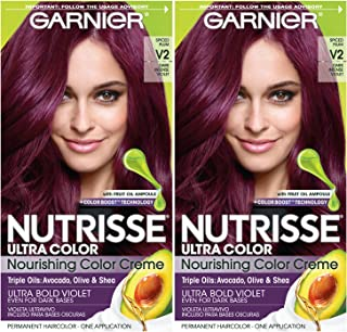 Garnier Nutrisse Ultra Color Nourishing Permanent Hair Color Cream, V2 Dark Intense Violet (Pack of 2) Purple Hair Dye