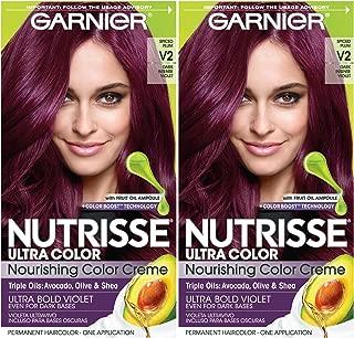 Garnier Nutrisse Ultra Color Nourishing Permanent Hair Color Cream, V2 Dark Intense Violet (Pack of 2) Purple Hair Dye