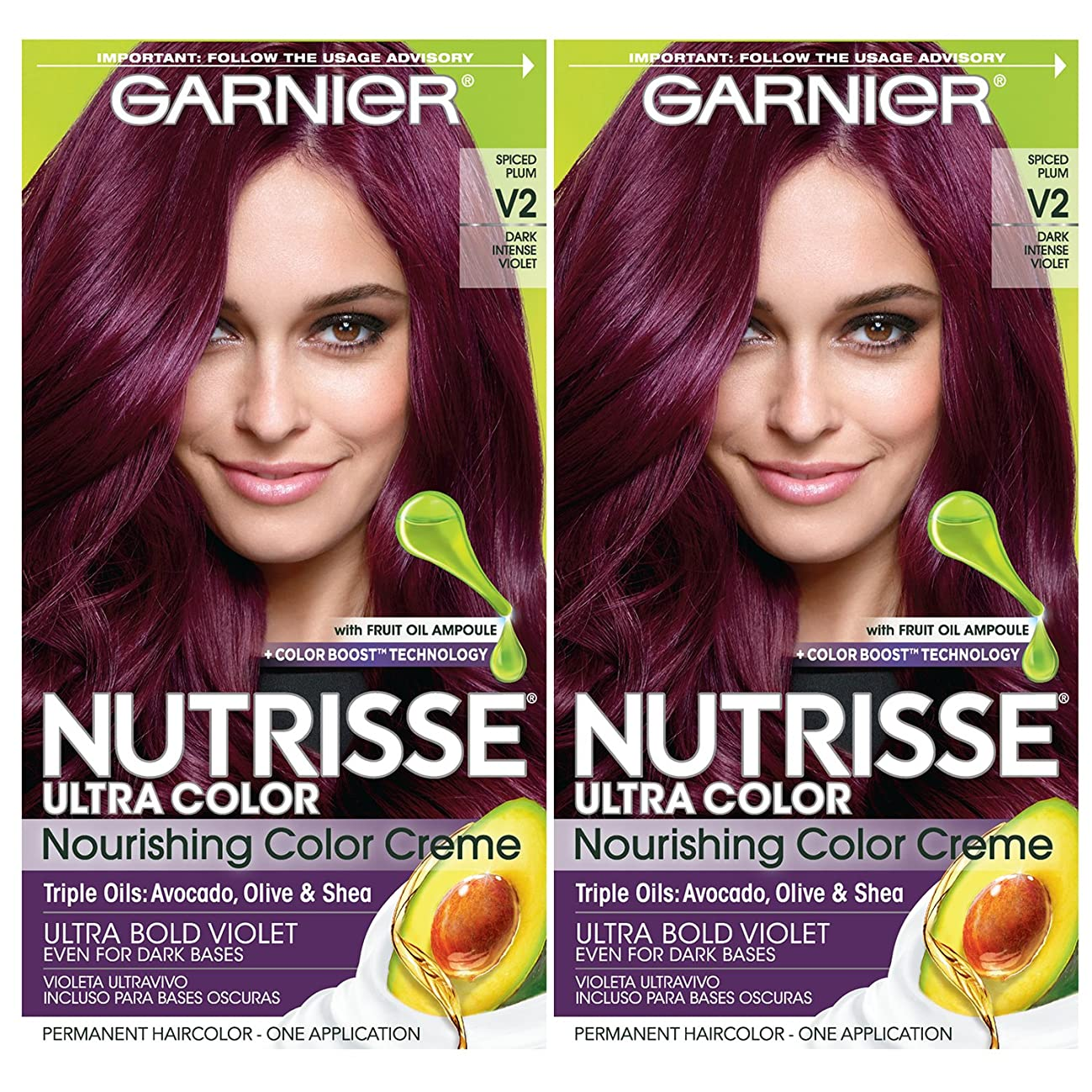 Garnier Nutrisse Ultra Color Nourishing Permanent Hair Color Cream, V2 Dark Intense Violet (2 Count) Purple Hair Dye