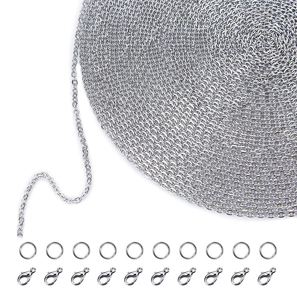Outus 33 Feet Stainless Steel DIY Link Chain Necklaces with 20 Lobster Clasps and 30 Jump Rings for Jewelry Making (1.5 mm)