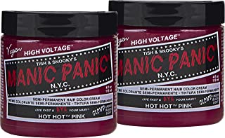 Manic Panic Hot Hot Pink Hair Color Cream (2-Pack) Classic High Voltage - Semi-Permanent Hair Dye - Vivid, Pink Shade - For Dark, Light Hair – Vegan, PPD & Ammonia-Free - Ready-to-Use, No-Mix Coloring