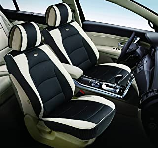 FH Group PU205102 Ultra Comfort Leatherette Front Seat Cushions, White/Black Color - Fit Most Car, Truck, SUV, or Van
