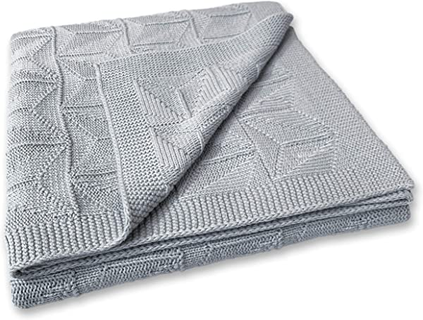 Zeke And Zoey Soft 100 Cotton Knit Grey Baby Blanket For Girls Or Boys Unisex For Infant Newborn Toddler And Kids For Crib Stroller Car Receiving Or Swaddle Blanket