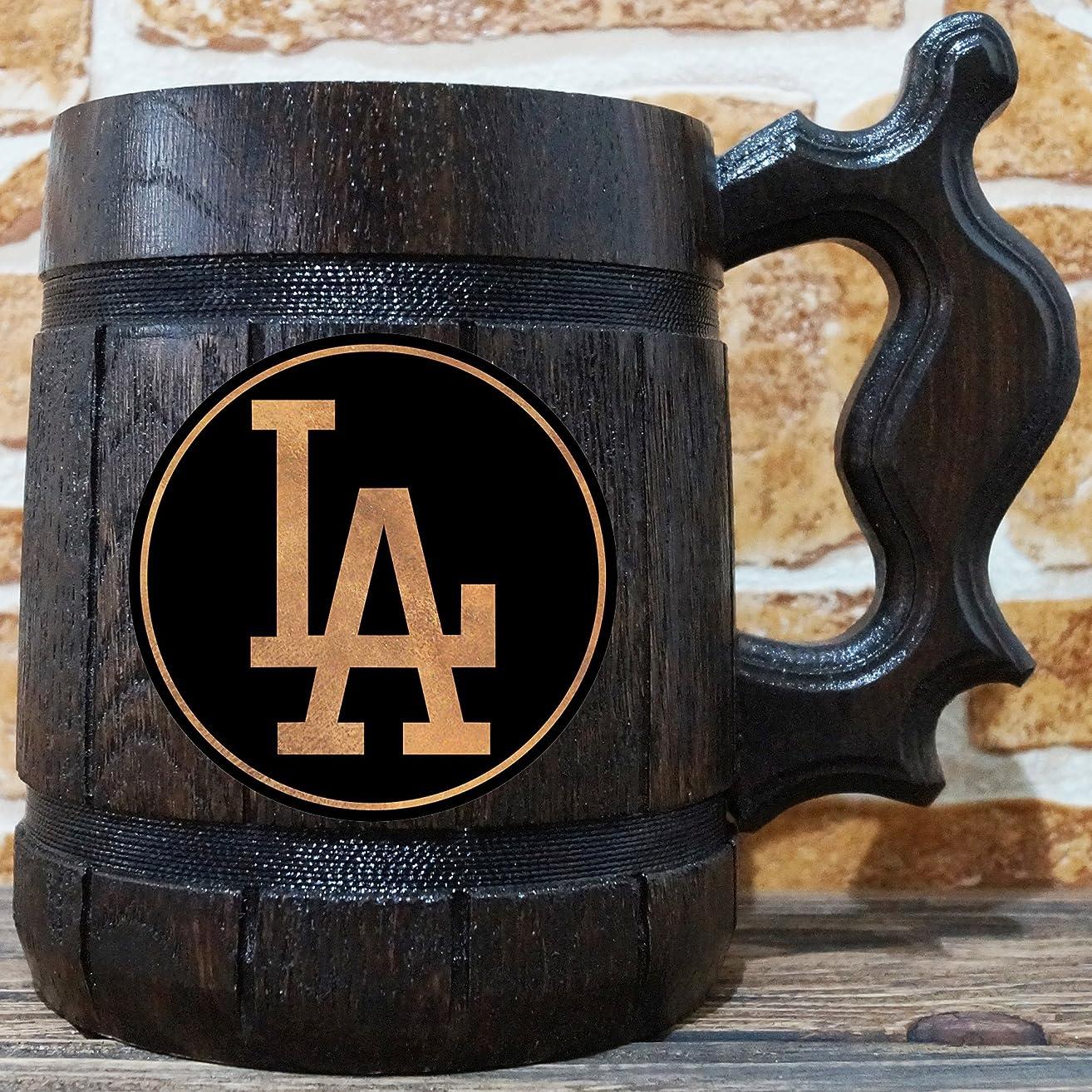 Los Angeles Dodgers Beer Mug, Baseball Wooden Beer Stein, Sport Gift, Personalized Beer Stein, Los Angeles Dodgers Tankard, Custom Gift for Men, Gift for Him
