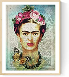 Nacnic Frida Kahlo Print with Art Definition in Spanish. Poster Size 11''x17'' with Blue Tones