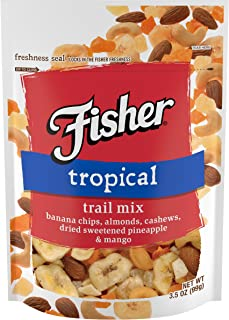 FISHER Snack Tropical Trail Mix, 3.5 oz (Pack of 6), Banana Chips, Almonds, Cashews, Dried Sweetened Pineapple & Mango