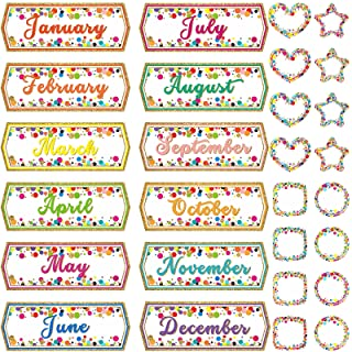 48 Pieces Confetti Monthly Headliners Set, 12 Monthly Headers Monthly Bulletin Board Borders Seasonal Months of The Year H...