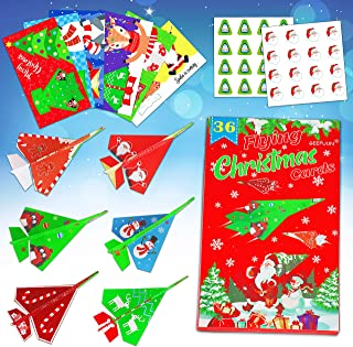 Geefuun Christmas Carfts for Kids - 36 Paper Airplane Cards/36 Envelopes/80 Stickers Xmas Party School Classroom Exchange ...