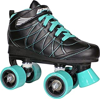 Hoopla Kids Roller Skates for Kids Children - Girls and Boys - Kids Rollerskates - Childrens Quad Derby Roller Skate for Youths Boy/Girl - Kids Skates (Black w/Blue Wheels)