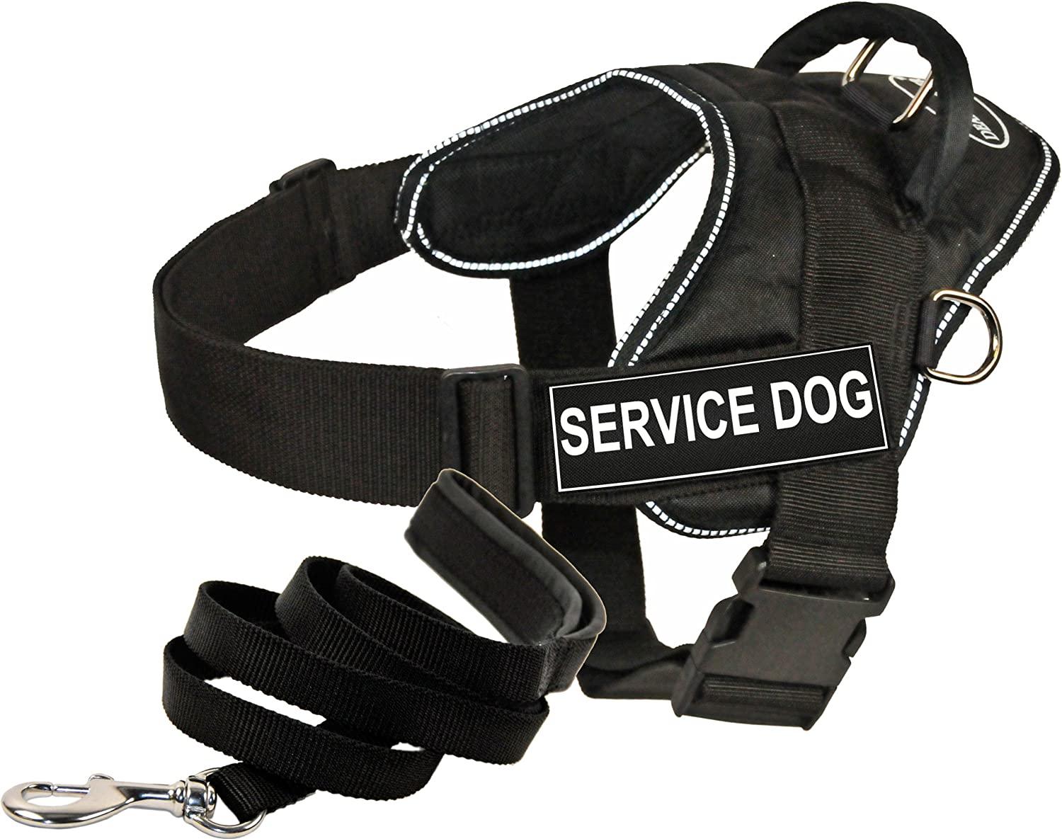 Dean and Tyler Bundle  One DT Fun Works  Harness, Service Dog, Reflective, Medium + One Padded Puppy  Leash, 6 FT Stainless Steel Snap  Black