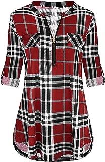 Best womens red plaid short sleeve shirt Reviews