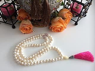 Artisan Hand Made ZamZam Tasbih Islamic Prayer Beads White 9-10mm Cultured Pearls 99 set, gorgeous lamp work glass barrel light pink flower spacers