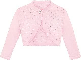 Lilax Little Girls' Knit Long Sleeve One Button Closure Bolero Shrug