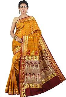 Misal Sarees Women's Bengal Origin Baluchari Handloom Silk Saree with Blouse Piece (MS1653, Mustard and Maroon)