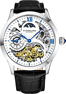 Stührling Original Automatic Watch for Men Skeleton Watch Dial, Dual Time, AM/PM Sun Moon, Leather Band, 571 Mens Watches Series