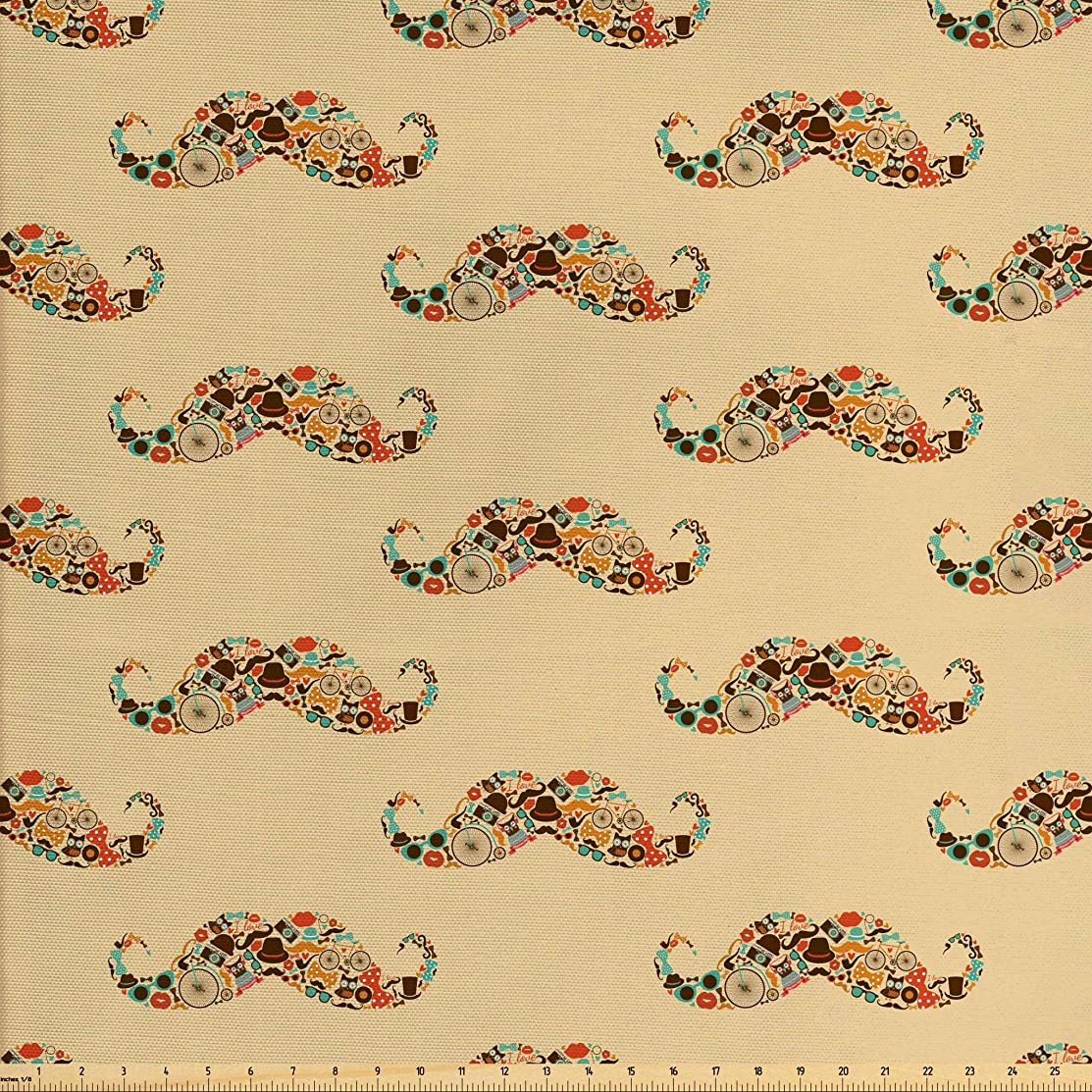 Lunarable Vintage Fabric by The Yard, Oriental Style Hipster Mustache with Pastel Colored Vintage Owl Bicycle Shapes and Pipe, Decorative Fabric for Upholstery and Home Accents, 1 Yard, Ecru